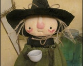 Whimsical kitchen witch standing Tea time Doll country Primitive Spring spooky cute Halloween decor HaFAIR