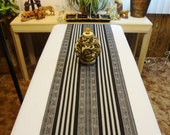 "Table Runner / Bed Throw - Black and Grey Striped Pattern with Tassel Trim - 56"" x 15"" (Excluding Trim) -  Item TR257300"