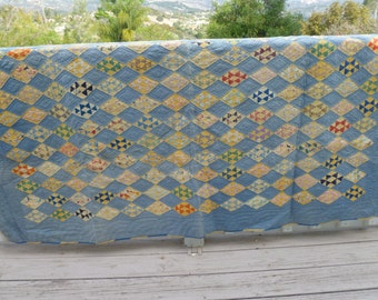 """1930s Quilt - Blue and Yellow - 72"""" x 73"""" - vintage 1930s handstitched"""