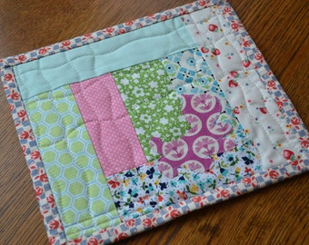 Pink Green Floral Kitty Cat Applique Mini Quilt Mug Rug Quilted Snack Mat Table Mat Coaster Dresser Mat