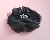 Black Silk Flower Hair Clip Tahitian Peacock and Gold Rhinestone Fascinator - Cyber Monday Sale