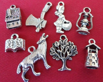 8 Little Red Riding Hood Themed Charms