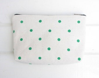 Handprinted Kelly Green Dots Canvas Pouch