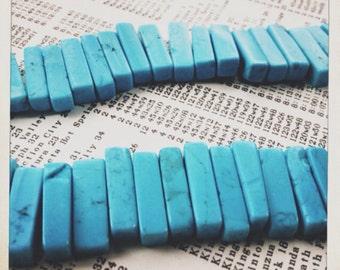 "SALE 1/4"" turquoise stick gemstone beads 16"" strand   destash"