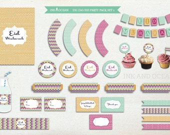 Eid Mubarak, Eid party pack, DIY Eid, Instant Download, printable