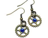 Steampunk Earrings - Bronze Gear and Capri Blue Swarovski Crystal