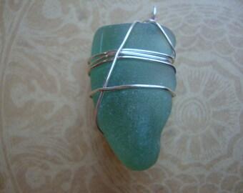 Sage Sea Glass Pendant