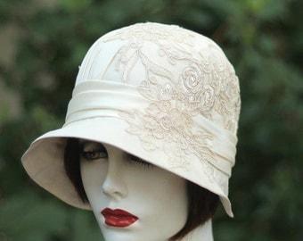 Ivory Lace 1920's Cloche Hat, Vintage Style Wedding,Antique White Lace,Cream Lace
