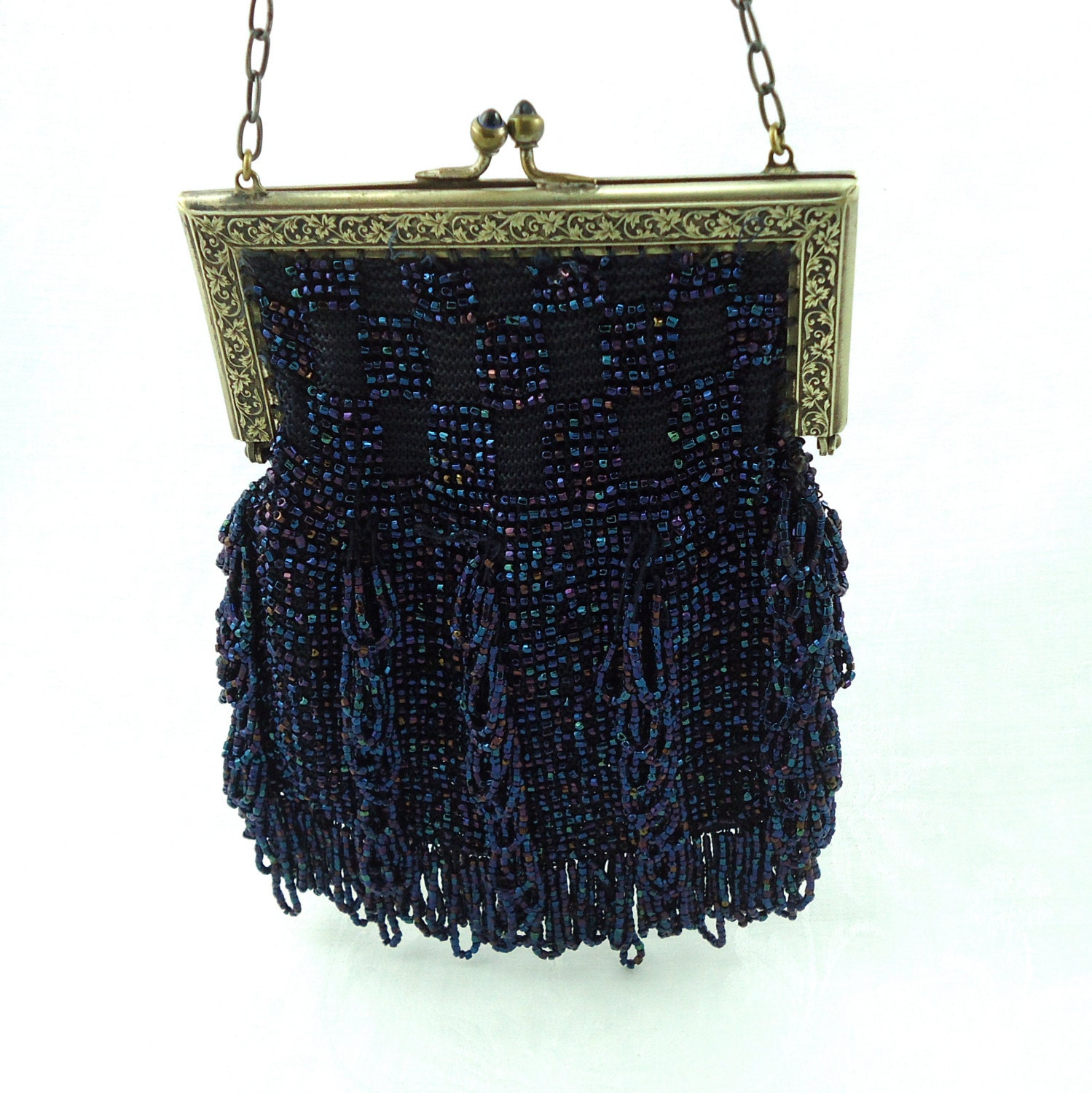blue iridescent beaded purse vintage