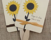 Personalized Hand Fans, Sunflower Wedding, Wedding Fans,