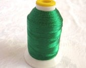 Emerald Green shimmery sewing  thread, 600 yds spool,  JPCoats, cotton polyester, carry along