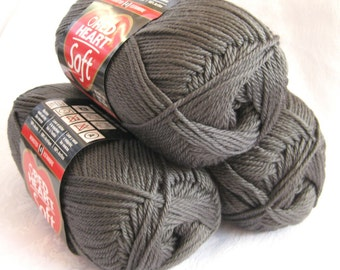 Red Heart Soft CHARCOAL gray yarn,  medium worsted weight yarn, grey yarn