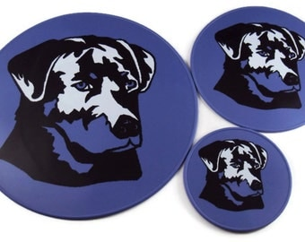 Lavender Silicone Black Labrador Kitchen Trivet, Kitchen Hot Pad, Table Coasters Table Placemat