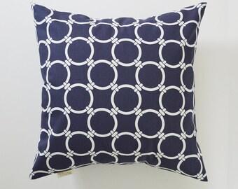 Nautical Pillow Cover Decorative Pillows Porthole Throw Pillows Navy Blue Pillow 16x16 18x18 20x20 22x22