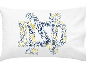 Personalized Pillowcase Notre Dame Pillow Room Decor Football Graduation Gift Fighting Irish Teen