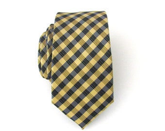 Necktie Blue and Yellow Checkers Mens Skinny Tie