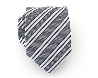 Mens Tie. Necktie Black and White Stripes Mens Tie