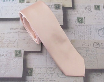 Peach Tie Mens Tie. Pastel Peach Pale Apricot Mens Skinny Tie With Matching Pocket Square Option