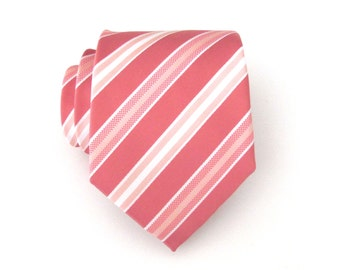 Mens Tie Coral Pink Pastel Peach Apricot White Stripes Necktie With Matching Pocket Square Option