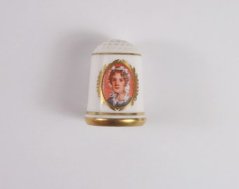 Vintage 70s Franklin Bone China First Lady Sewing Thimble Martha Randolph