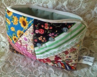 Make Up Bag, Cosmetic Purse, Embroidered Patchwork Chintz Lining