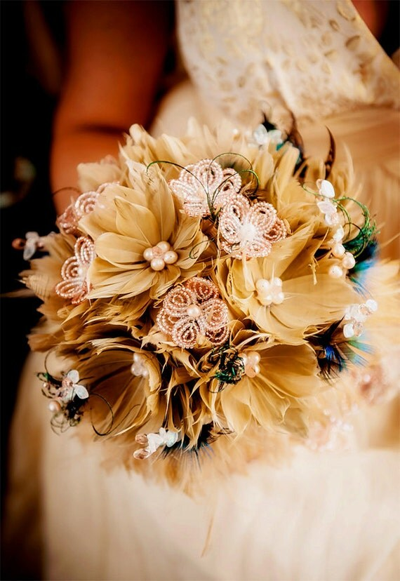 Feather wedding bouquet with french beaded flowers and crystals GENEVIEVE