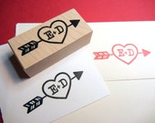 Wedding Save the Date rubber stamp // Heart with Arrow and Initials Rubber Stamp // Handmade by Blossom Stamps