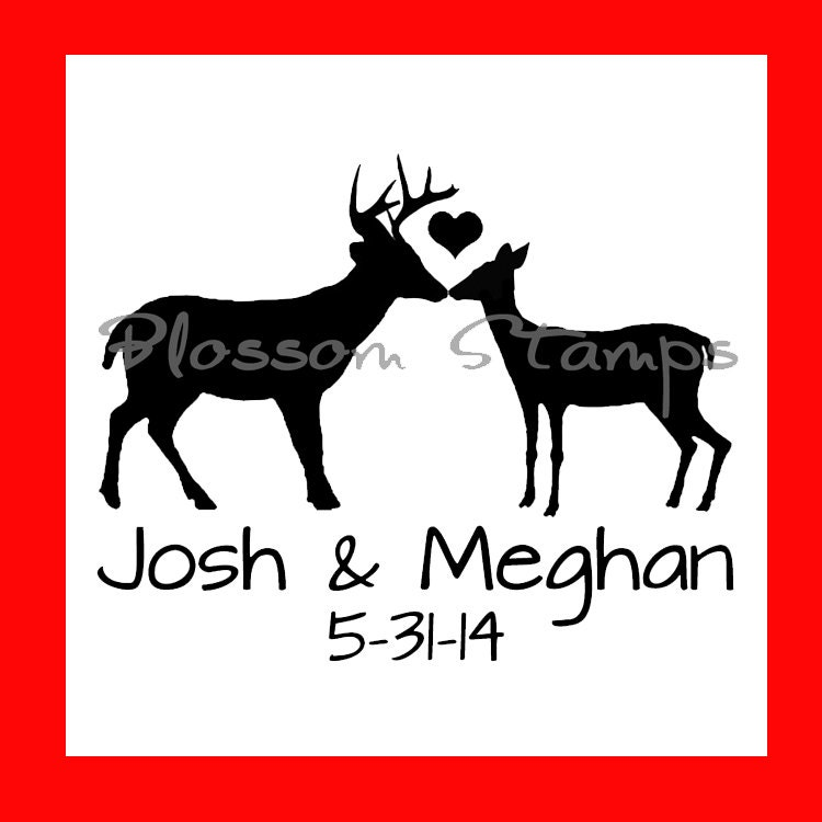 Wedding Save The Date Rubber Stamp Custom Woodland Rustic Buck And Doe Handmade By Blossom Stamps