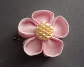 Hand Folded Kanzashi Flower Hair Clip with Light Pink Seersucker Fabric and Cream Colored Vintage Bead