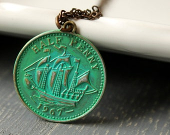Nautical Brass Coin Necklace / Half Penny Ship Pendant / Brass Nautical Charm with Turquoise Patina / Natural Brass Chain