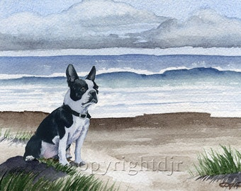 """Boston Terrier Art Print """"BOSTON TERRIER At The Beach Dog"""" Signed by Watercolor Artist DJ Rogers"""