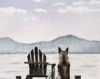 "GERMAN SHEPHERD Art Print ""Patiently Waiting"" Signed by Watercolor Artist DJ Rogers"