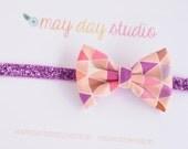 SALE newborn baby toddler girls fabric bow headband - colorful geometric triangle fabric bow on purple glitter elastic headband