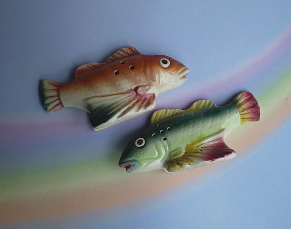 Vintage 50s Fish Salt And Pepper Shakers Japan