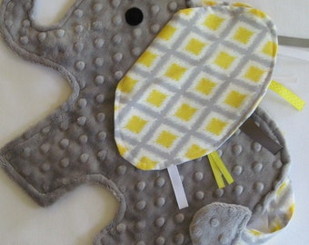 Taylor Yellow and Gray Elephant Sensory Baby Security Blanket