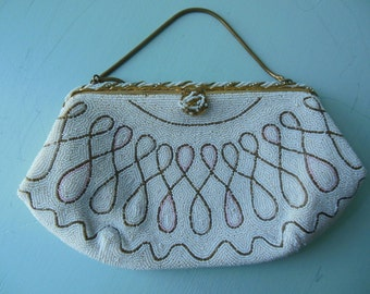 Seed bead clutch • vintage 1930s 40s seed bead bag • 30s 40s beaded purse
