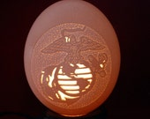 Carved and Sculpted Ostrich egg, USMC - Eagle,Globe and Anchor