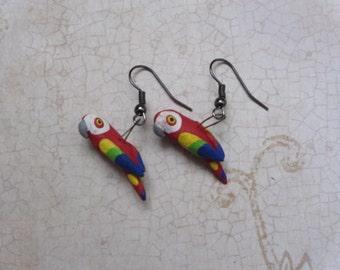 Red Macaw baby bird earrings