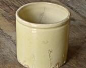 Vintage French Stoneware Yellow Glazed Pot