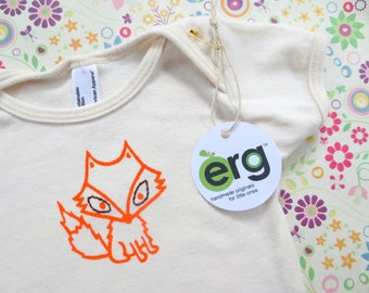 ORGANIC Fox Lap T, 12-18 or18-24 Month Short-Sleeve, Screen Printed and Hand Stitched