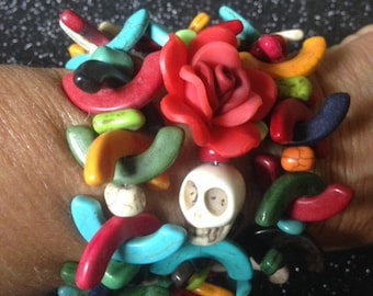 Day of the Dead colorful Memory Wire Bracelet Lots of Color-Where Every Design Tells A Story-
