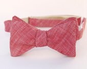 red linen freestyle bow tie