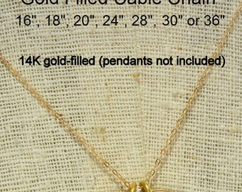 "Gold Cable Chain, Gold Chain, Gold Necklace, A La Carte Chain, Plain Chain, 14-karat gold filled 14"" 16"" 18"" 20"" 22"" 24"" 26"" 28"" 30"" 32"" 36"""