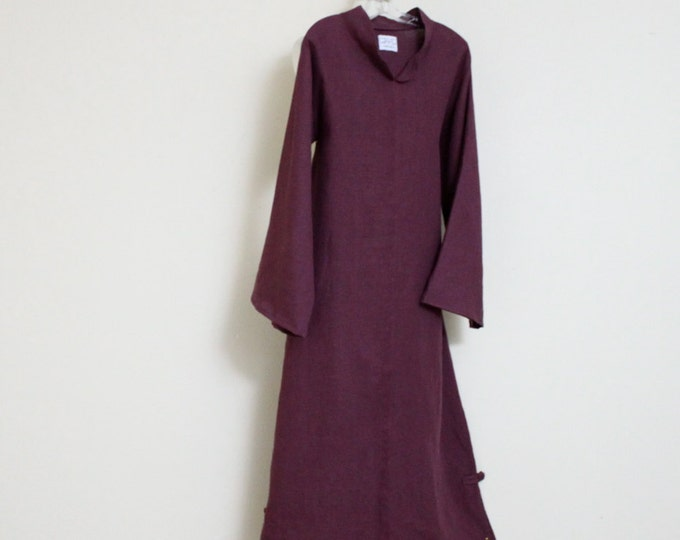 custom linen chipao robe  with long sleeves made to fit listing / Asian linen robe / linen dress for wedding / plus size / all sizes