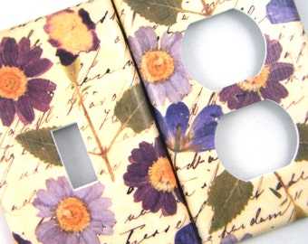 Light Switch Cover Outlet Cover Switchplate -- Pressed Flowers