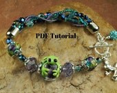 Frog In My Garden Bracelet Tutorial,  Beaded Bracelet Tutorial, Tutorial SRA 298 by CC Design