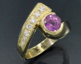 Yellow Gold By-pass Ring with Pink Sapphire and Bead Set Diamonds