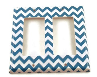 Double Rocker Light Switch Cover Wall Decor Switchplate Switch Plate in  Blue Chevron  (227DR)