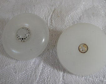 2 ANTIQUE White Clam Broth Glass BUTTONS
