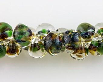 10 Teardrop Handmade Lampwork Beads - Meadow 11mm (TD-138)